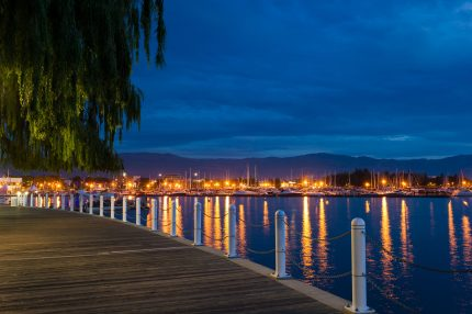 Downtown Kelowna Harbour at dusk