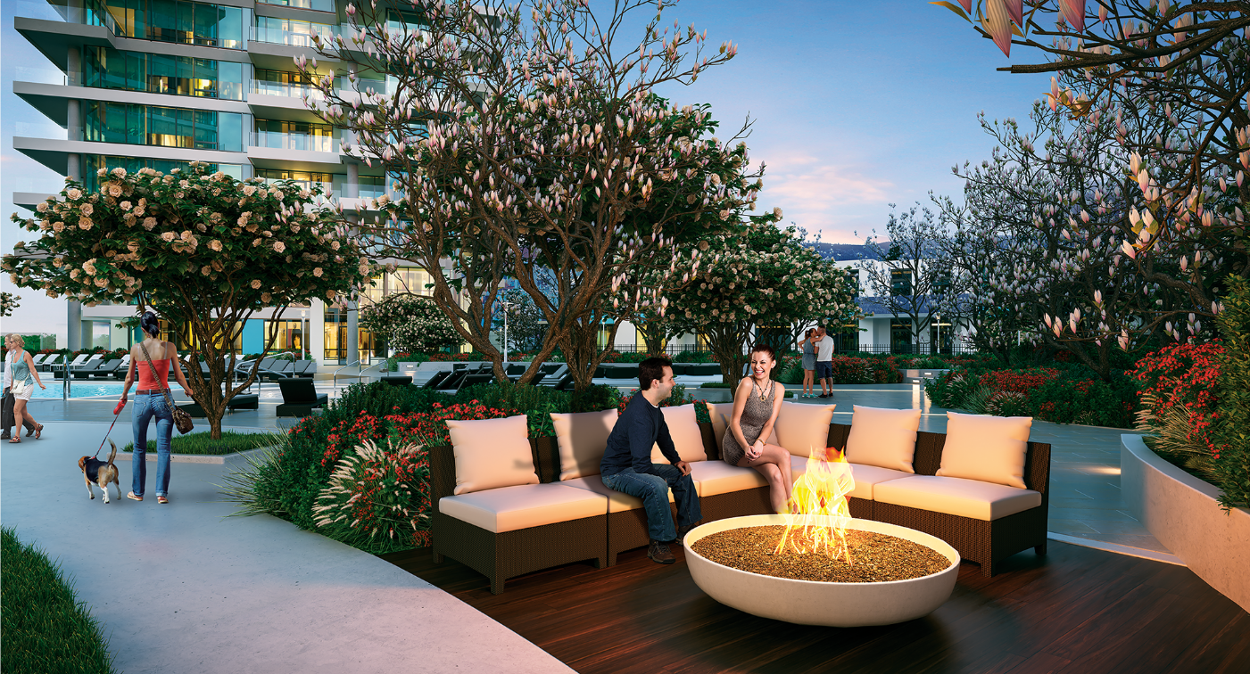 Settle into a cozy moment with your favourite people in front of one of several fire pit enclaves. title=FIRE PIT ENCLAVES
