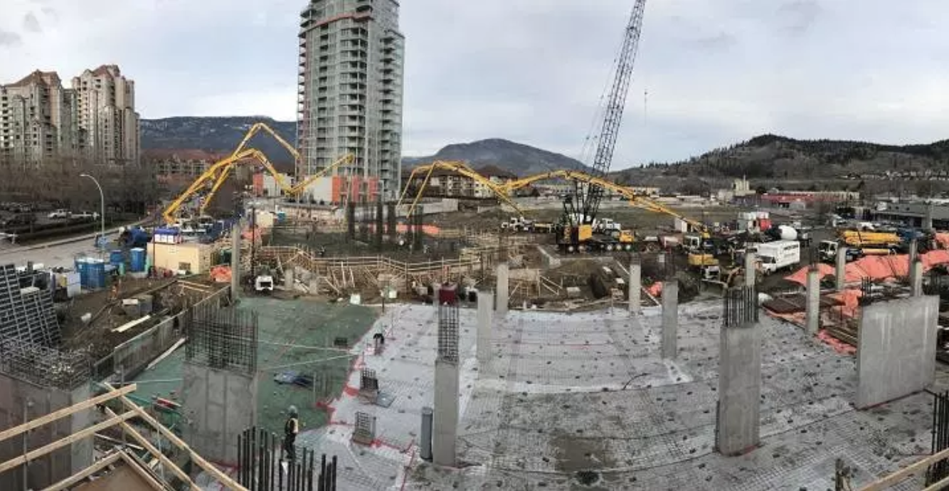 West Tower Concrete Pour Underway